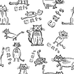 Seamles background of funny sketch cats