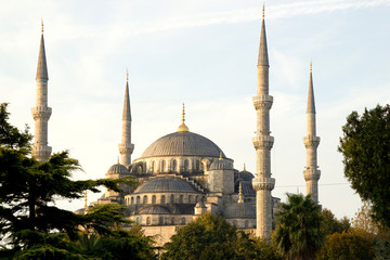 Minarets and Dome of  Blue Mosque, Istanbul, Turkey