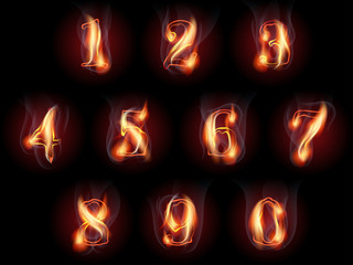 fire burning numbers set