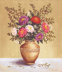 Asters in a camphora, painting