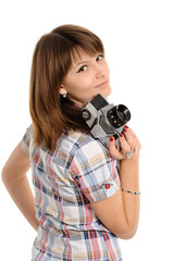 woman  with vintage camera