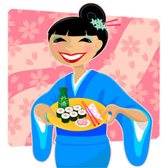woman serving sushi
