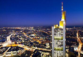 Illuminated cityscape of Frankfurt