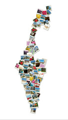 Map of Israel,collage made of travel photos with famous landmark