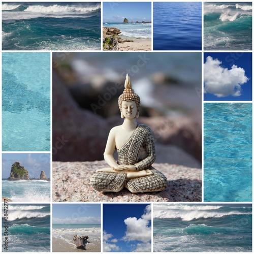 Wall mural Buddha am blauen Meer - Entspannung für Körper, Geist und Seele