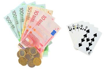 Euro money as prize in poker