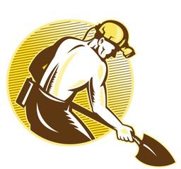 Coal Miner With Shovel Retro Woodcut