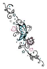 Ranke, Blumen, Tattoo, Tribal, türkis, rosa