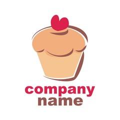 Sweet retro cupcake muffin silhouette vector logo