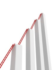 diagram of growth with a ladders striving for success