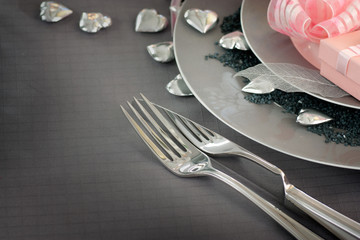 Valentine day romantic table setting