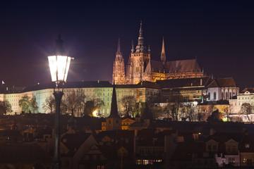 beautiful night view of Prague Castle