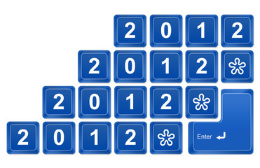 new year 2012 button on blue keyboard