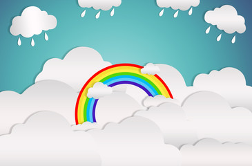 clouds and background blue sky and Rainbow