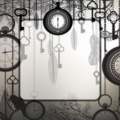 Retro background with tree branches and antique clocks and keys
