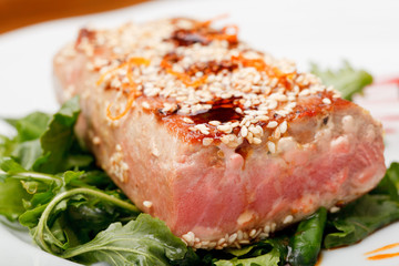 Fried tuna steak