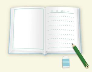 夏休みの絵日記ベース、ノート、鉛筆、消しゴム