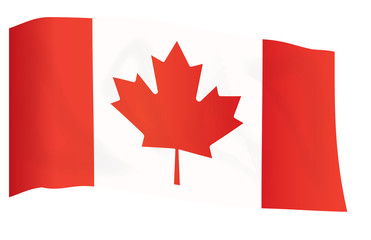 fly-away flag of Canada isolated on white vector illustration