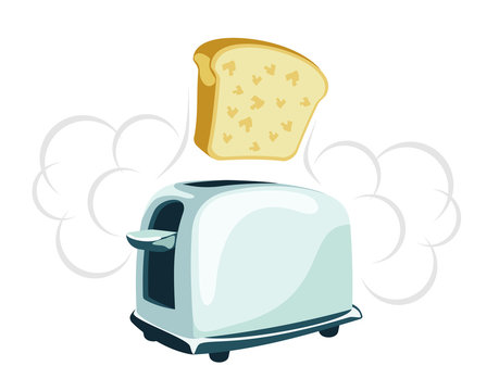 Cartoon toaster with a toast jumping off