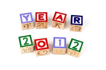 Alphabet blocks spelling Year 2012