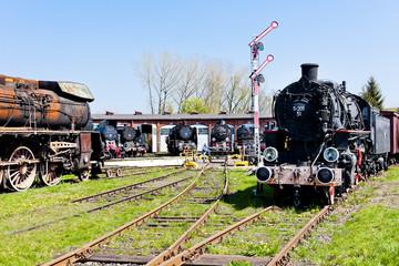 steam locomotives in railway museum, Jaworzyna Slaska, Poland