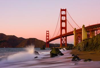 Golden Gate Bridge in San Francisco at sunset
