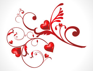 abstract shiny floral red heart wallpaer
