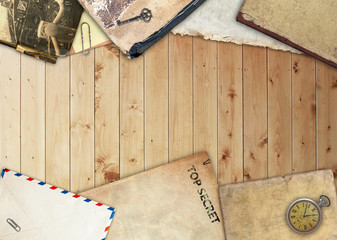 Composition on wooden background