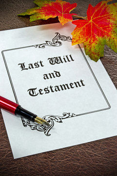 A last will and testament concept with fountain pen