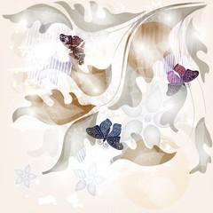 biglietto d'invito con decori e farfalle