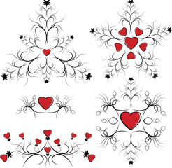 Valentine's Day set elements of card.