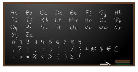 Blackboard background with alphabet, numbers and signs in chalk.