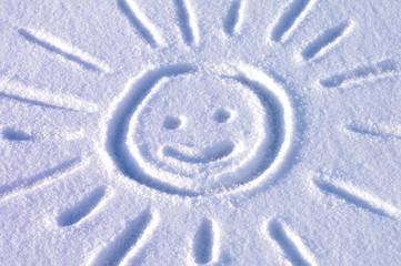 Rysunek na śniegu - fototapety na wymiar