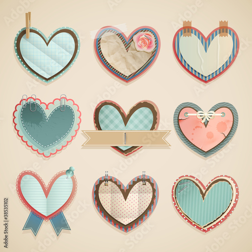 Wall mural Valentine`s Day scrapbooking elements