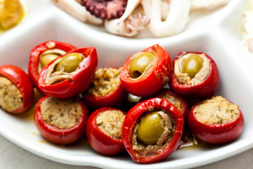Appetizer with olives and tomatoes