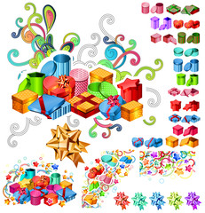 Big Collection of Gift Boxes with Trendy Elements.