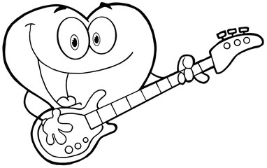 Outlined Romantic Red Heart Man Playing A Guitar And Singing