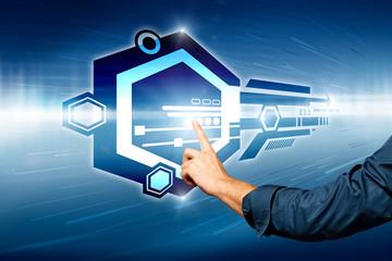 finger, touching a virtual interface