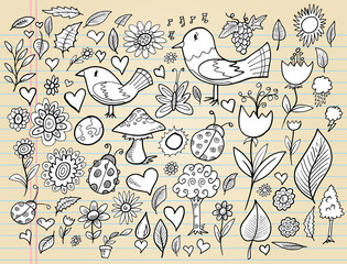 Doodle Spring Time Elements Vector Illustration Set