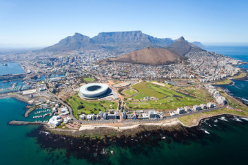 Photo on textile frame South Africa overall aerial view of Cape Town, South Africa