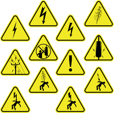 Set of electricity sign symbols.