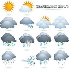 Weather icon sign set on white.