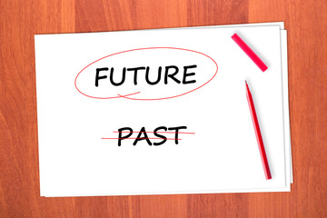 Chose the word FUTURE, crossed out the word PAST