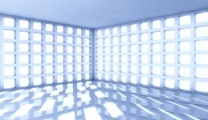 3d modern architecture interior with window