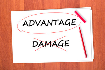 Chose the word ADVANTAGE, crossed out the word DAMAGE
