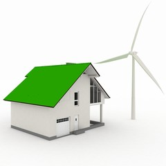 Eco house with wind turbine