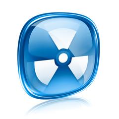 Radioactive icon blue glass, isolated on white background.