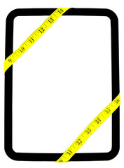 Measuring Tape Wrapped Around White Blank Board