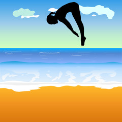 girl jump into the sea vector illustration