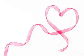 Heart shaped ribbon with copy space.